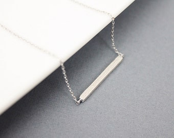 Simple Silver Bar / gold Necklace. Modern and Dainty Necklace. Bridesmaid Gift Gift for Friends