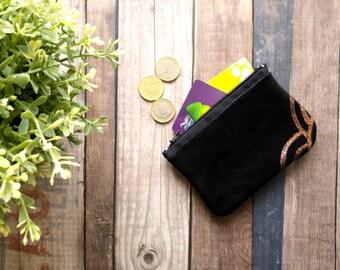 Mini pouch wallet leather black velvet and sequins copper