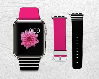 Apple Watch Band for Series 1 Series 2, Leather Strap Wrist Band with Metal Clasp 38mm 42mm Adapter - Magenta X black & white stripes -W3