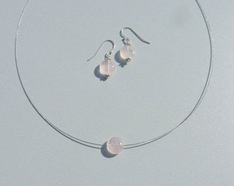 ADORNMENT minimalist ROSE QUARTZ necklace Silver earrings 925 steel wire has your dimension