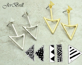 Geometric Origami Punk Triangle Stud Earring from JerBrill.