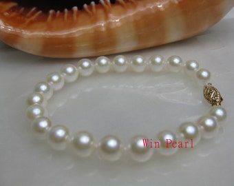AAA+ Gem Quality Akoya White Pearl Bracelet - 14K gold clasp -br12