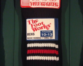 Sweet *new* vintage black/red athletic tube socks