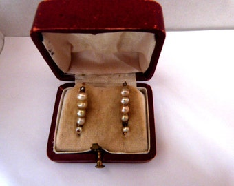 Early 19th earrings , solid gold and pearls