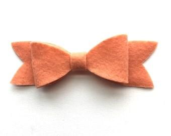 Peach felt bow