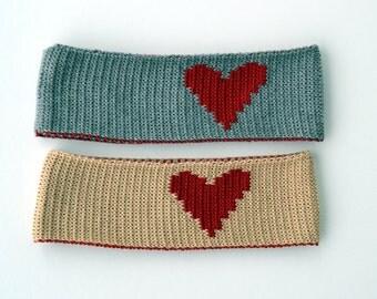 Knit Merino Headband with Heart