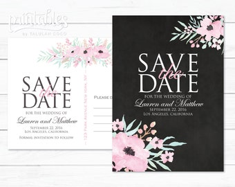 Rustic Save the Date Postcard, Boho Save the Date Invitations, Printable Save the Date Rustic Flowers, Black Floral Save the Date Template