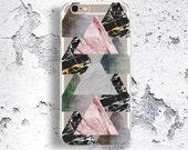 Transparent Clear iPhone 6 Triangles Cover, iPhone SE Geometrics Case, Galaxy S7 Edge Colorful Marble Design, ZTE Unique Art Case