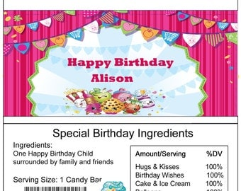 Shopkins birthday Candy Bar Wrapper