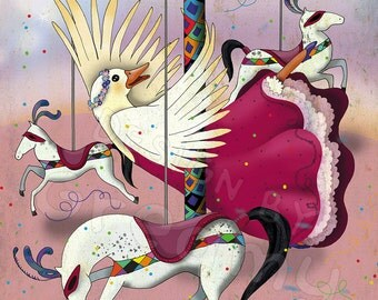"Illustration-print the Bimbo/the joyful goose-series ""elegant animals"""