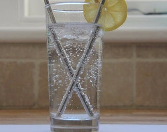 4 x Stainless Steel Straws - (Straight and angled at top) + Eco Friendly