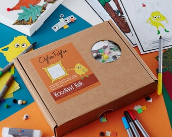 Woodland Walk, a story telling craft kit for creative kids.  Colour in the story and create your own canvas creation