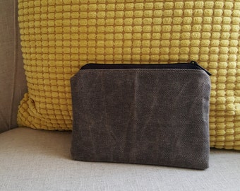 Small tweed waxed canvas zipper pouch
