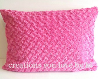 Hot pink minky sham cover