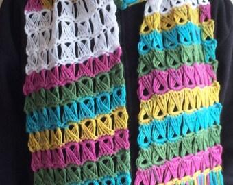 Multicolour broomstick lace crochet scarf / Multicolour crochet scarf / Broomstick lace crochet scarf / spring colours lacy crochet scarf