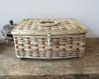 Vintage Sewing Box Basket Woven Straw Lime Green Lining Gold Cream Filled With Vintage Sewing Notions Loom Thread
