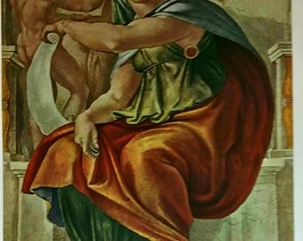 Michelangelo Buonarroti Delphic Sibyl Early 1900 Lithograph