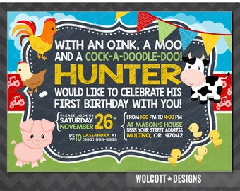 Farm Birthday Invitations, 1st Birthday Farm Invitations, Old MacDonald Invitations, Farm Invitations, Country Birthday Party, Chalkboard