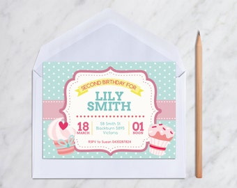 Cupcake Cupcakes Theme Birthday Party Invitation Card (Personalised DIY Printables)