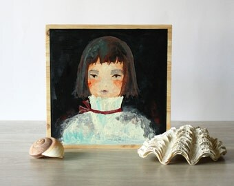 Painting on Wood board, original design natural style home decoration, ready to hang Little Prince small portrait art nursery decor gift
