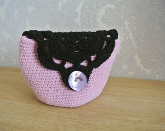 Purse pink and black hook