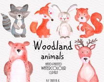 Woodland Animals Clipart, Watercolour Clipart, Animals Clipart, Watercolour Animals Clip Art, Commercial Use, Hand-painted Clipart