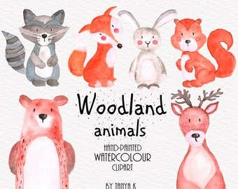 Woodland Animals Clipart, Watercolor Clipart, Animals Clipart, Watercolor Animals  Clip Art, Commercial Use, Hand Painted Clipart