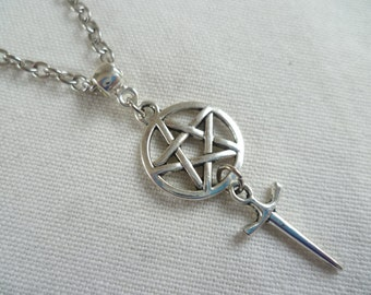 Pentagram necklace, pentacle necklace pentagram jewelry, athame dagger necklace,athame jewelry,wiccan jewelry,gift, pagan, silver pentagram