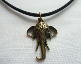 Elephant choker,elephant jewellery,buddhist jewelry,elephant choker necklace,gift,black choker,bronze elephant suede choker,elephant gift