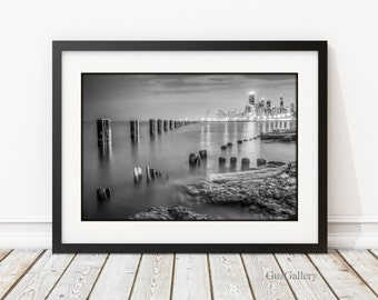 "Chicago Skyline,  FRAME 14x18 or 18x24"" with double mat and print "" Chicago Lakeshore "" Home Decor, Wall Art"