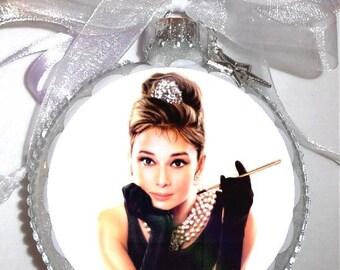 Audrey Hepburn inspired tribute Glass Christmas Ornament