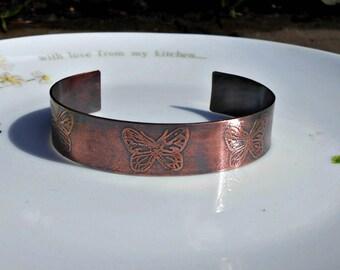 Butterfly Bracelet, Butterfly Jewelry, Copper Butterfly Cuff, Cuff Bracelet, Butterfly Bangle,  Etched Butterflies,  Gifts for Her.