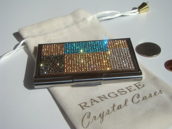 Business Card / Sewing Needle Case, Rose Gold Abstract Art (4) Rhinestone Crystals, Card Box , Needle Case, Business Card holder,
