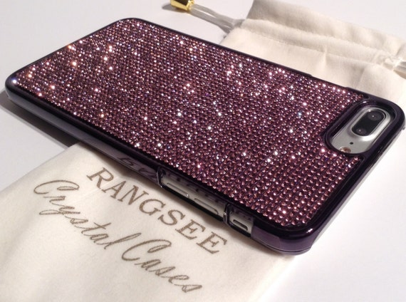 iPhone 7 Plus Case Purple Amethyst Diamond Rhinestone Crystals on Black Chrome Case. Velvet Pouch Included, Genuine Rangsee Crystal Cases