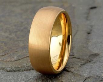 Yellow Tungsten Ring Mens Wedding Band 8mm