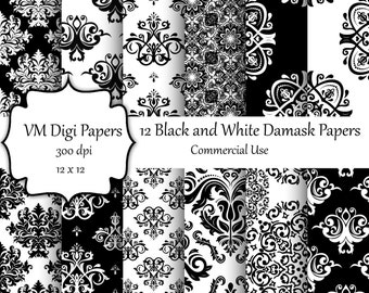 Black and White Damask Digital Paper, Patterns for Stickers, Black White Damask, Digital Paper, Damask  Paper, Commercial use