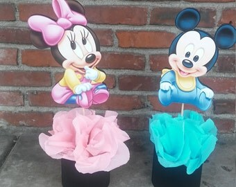 Disney Baby Minnie Mouse Centerpiece Birthday Party Guest Table Decoration  Food Table Baby Shower Baby First