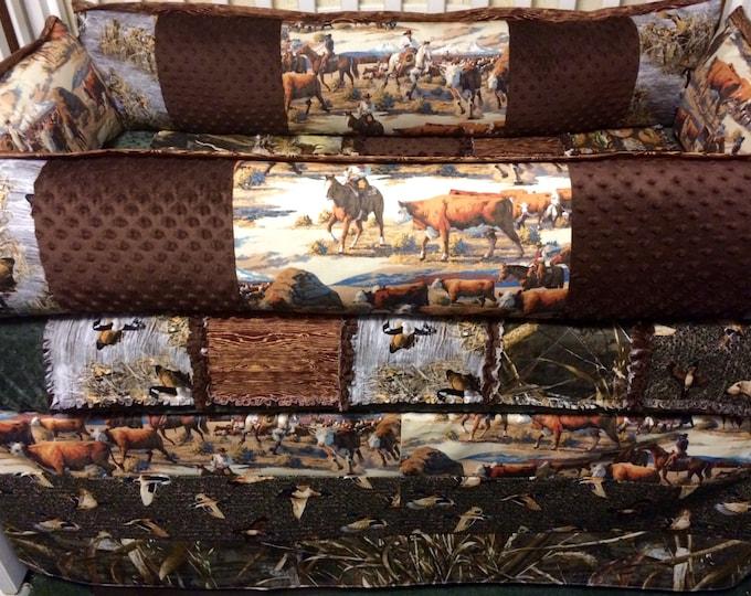 "Custom Baby Bedding-""Outdoorsman ""- Camo/Cowboy/Deer/Fish"