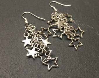 Silver star earrings, dangly star earrings, dangle drop earrings, cluster jewelry, silver star bead earrings, star cluster earrings, stars