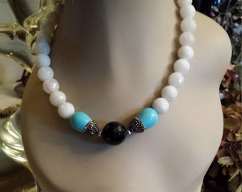 Faceted moonstone with faceted black onyx and turquoise freshwater pearl center necklace