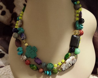 Two strand beaded assorted faceted necklace