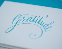 Thank You Cards Letterpressed  / Thank You Notes / Hand Calligraphy / Gratitude Letterpress Card  / Unique Hand Lettering / Set of 10