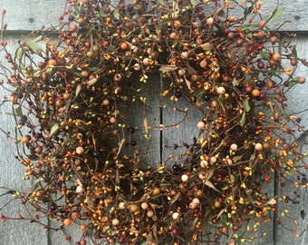 Primitive Wreath with Pip Berries, Fall Wreath, Country Wreath, Rustic Wreath, Country Decor, Front Door Wreath, Autumn Wreath, Free Ship