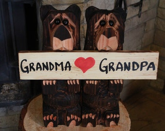 Chainsaw Carved Bears 15 inch with grandparent sign