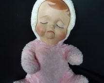 Sad Pouting Pink Vintage 1950's Knickerbocker Rubber Face Doll