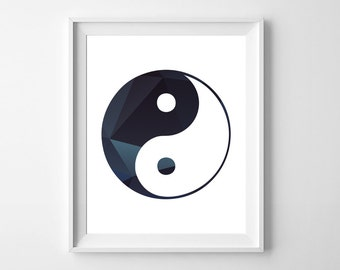 Yin Yang wall art / yin yang wall décor / Chinese symbol / 8 x 10 wall print / printable yin yang / instant download /yin yang digital print