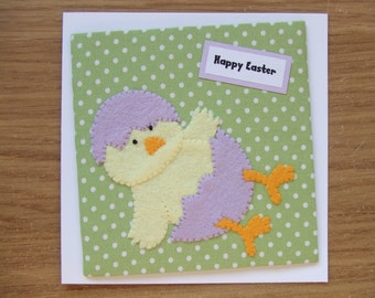 Chick Easter Cards, Easter Chick, Fabric Easter Cards, Handmade Easter Cards, Felt Easter Cards