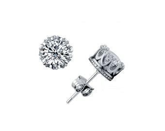 Royal Crown Swarovski Element Crystal Stud Earrings