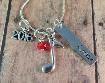 Music Necklace, Personalized, Hand Stamped, Class of 2017, Band, Choir, Senior Gift, Marching Band, Orchestra, Chorus, Birthday, Graduation