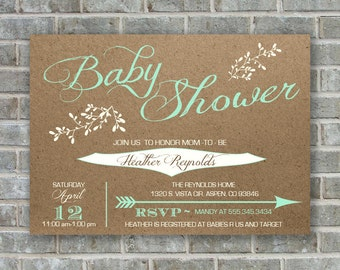 BABY SHOWER INVITATION - mint baby shower invite- printable baby shower invitation- baby shower template- baby invitation- printable invite
